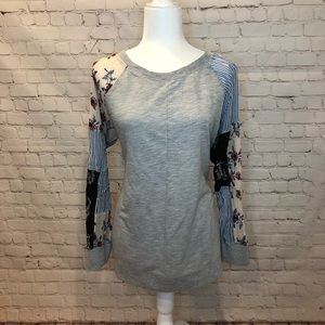 Style & Co Gray Patch Sleeve Long Sleeve Top